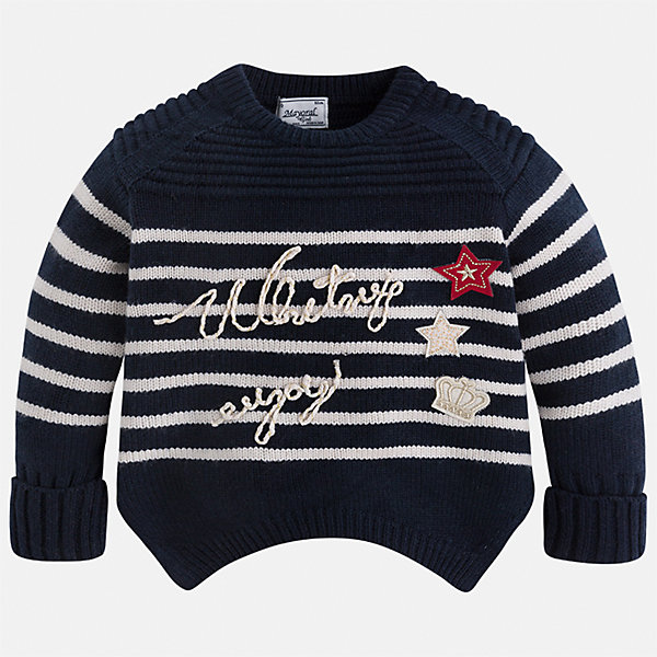 Свитер для девочки MayoralСвитера и кардиганы<br>Характеристики товара:<br><br>• цвет: черный<br>• состав ткани: 75% акрил, 25% полиамид<br>• сезон: круглый год<br>• стразы<br>• длинные рукава<br>• страна бренда: Испания<br>• страна изготовитель: Индия<br><br>Модный вязаный черный свитер от Майорал - это пример отличного вкуса. Он сделан из приятной на ощупь пряжи. Такой свитер для девочки обеспечит ребенку комфорт и модный внешний вид. <br><br>В одежде от испанской компании Майорал ребенок будет выглядеть модно, а чувствовать себя - комфортно. Целая команда европейских талантливых дизайнеров работает над созданием стильных и оригинальных моделей одежды.<br><br>Свитер для девочки Mayoral (Майорал) можно купить в нашем интернет-магазине.<br>Ширина мм: 190; Глубина мм: 74; Высота мм: 229; Вес г: 236; Цвет: темно-синий; Возраст от месяцев: 24; Возраст до месяцев: 36; Пол: Женский; Возраст: Детский; Размер: 98,134,128,122,116,110,104; SKU: 6924089;
