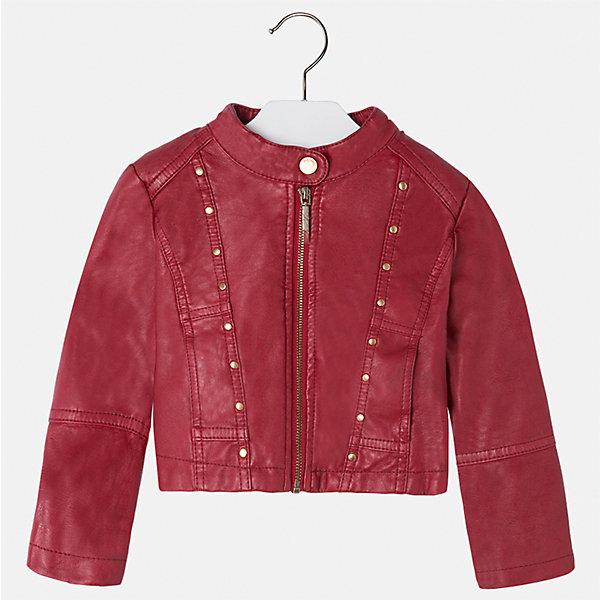Куртка Mayoral для девочкиВерхняя одежда<br>Характеристики товара:<br><br>• цвет: красный<br>• состав ткани: 100% полиуретан, подклад - 100% полиэстер<br>• застежка: молния<br>• длинные рукава<br>• сезон: круглый год<br>• страна бренда: Испания<br>• страна изготовитель: Индия<br><br>Стильная куртка с небольшими клепками для девочки от Майорал поможет обеспечить тепло и комфорт. Эффектная детская куртка отличается модным укороченным силуэтом. <br><br>Детская одежда от испанской компании Mayoral отличаются оригинальным и всегда стильным дизайном. Качество продукции неизменно очень высокое.<br><br>Куртку для девочки Mayoral (Майорал) можно купить в нашем интернет-магазине.<br><br>Ширина мм: 356<br>Глубина мм: 10<br>Высота мм: 245<br>Вес г: 519<br>Цвет: красный<br>Возраст от месяцев: 36<br>Возраст до месяцев: 48<br>Пол: Женский<br>Возраст: Детский<br>Размер: 104,134,128,122,116,110<br>SKU: 6924227