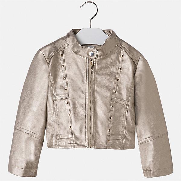 Куртка для девочки MayoralВерхняя одежда<br>Характеристики товара:<br><br>• цвет: бежевый<br>• состав ткани: 100% полиуретан, подклад - 100% полиэстер<br>• застежка: молния<br>• длинные рукава<br>• сезон: круглый год<br>• страна бренда: Испания<br>• страна изготовитель: Индия<br><br>Стильная укороченная куртка декорирована небольшими клепками. Легкая куртка девочки от бренда Майорал поможет девочке выглядеть модно и чувствовать себя комфортно. <br><br>Для производства детской одежды популярный бренд Mayoral использует только качественную фурнитуру и материалы. Оригинальные и модные вещи от Майорал неизменно привлекают внимание и нравятся детям.<br><br>Куртку для девочки Mayoral (Майорал) можно купить в нашем интернет-магазине.<br><br>Ширина мм: 356<br>Глубина мм: 10<br>Высота мм: 245<br>Вес г: 519<br>Цвет: бежевый<br>Возраст от месяцев: 96<br>Возраст до месяцев: 108<br>Пол: Женский<br>Возраст: Детский<br>Размер: 134,104,110,116,122,128<br>SKU: 6924241