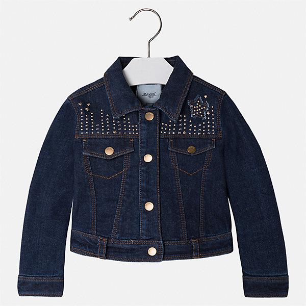 Куртка для девочки MayoralДжинсовая одежда<br>Характеристики товара:<br><br>• цвет: синий<br>• состав ткани: 100% хлопок, подклад - 100% полиэстер<br>• застежка: пуговицы<br>• длинные рукава<br>• стразы<br>• сезон: круглый год<br>• страна бренда: Испания<br>• страна изготовитель: Индия<br><br>Стильная куртка с оригинальным декором для девочки от Майорал поможет обеспечить тепло и комфорт. Эффектная детская куртка отличается модным укороченным силуэтом. <br><br>Детская одежда от испанской компании Mayoral отличаются оригинальным и всегда стильным дизайном. Качество продукции неизменно очень высокое.<br><br>Куртку для девочки Mayoral (Майорал) можно купить в нашем интернет-магазине.<br>Ширина мм: 356; Глубина мм: 10; Высота мм: 245; Вес г: 519; Цвет: темно-синий деним; Возраст от месяцев: 24; Возраст до месяцев: 36; Пол: Женский; Возраст: Детский; Размер: 98,134,128,122,116,110,104; SKU: 6924248;