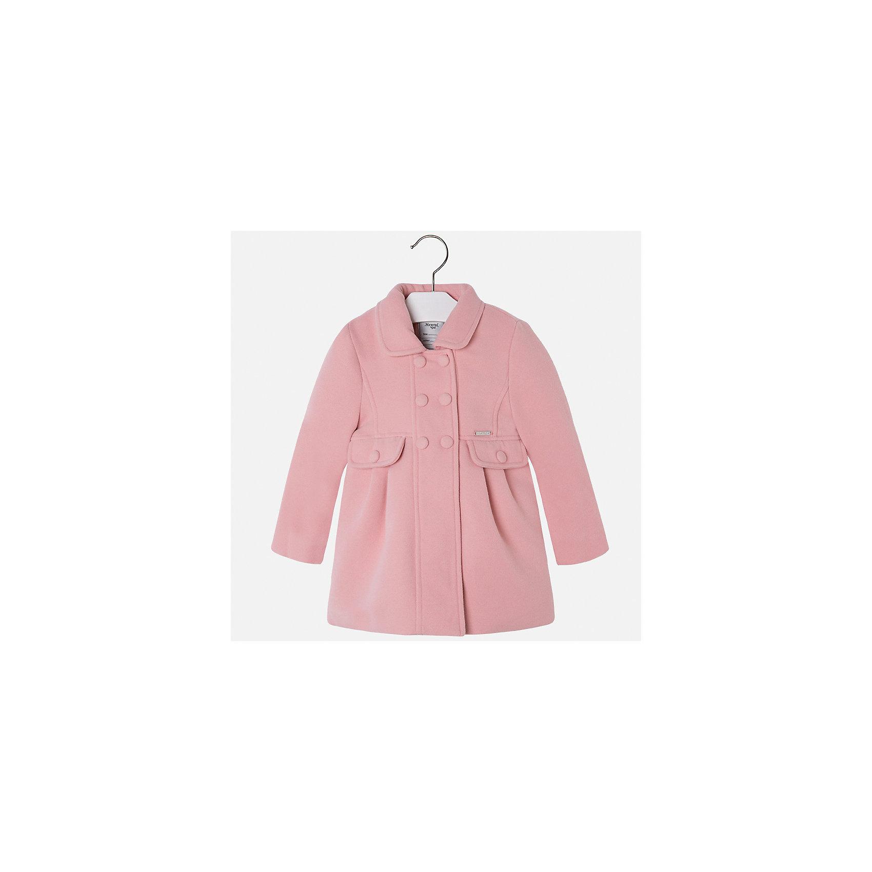 Пальто Mayoral для девочкиВерхняя одежда<br>Характеристики товара:<br><br>• цвет: розовый<br>• состав ткани: 90% полиэстер, 8% вискоза, 2% эластан, подклад - 100% полиэстер<br>• застежка: пуговицы<br>• длинные рукава<br>• сезон: демисезон<br>• температурный режим: от -5 до +5<br>• страна бренда: Испания<br>• страна изготовитель: Индия<br><br>Такое пальто для девочки сможет обеспечить тепло в период межсезонья. Модель сделана из качественного материала, есть подкладка. Модное пальто от Майорал - это пример отличного вкуса и высокого качества. <br><br>В одежде от испанской компании Майорал ребенок будет выглядеть модно, а чувствовать себя - комфортно. Целая команда европейских талантливых дизайнеров работает над созданием стильных и оригинальных моделей одежды.<br><br>Пальто для девочки Mayoral (Майорал) можно купить в нашем интернет-магазине.<br><br>Ширина мм: 356<br>Глубина мм: 10<br>Высота мм: 245<br>Вес г: 519<br>Цвет: розовый<br>Возраст от месяцев: 96<br>Возраст до месяцев: 108<br>Пол: Женский<br>Возраст: Детский<br>Размер: 134,92,98,104,110,116,122,128<br>SKU: 6924288