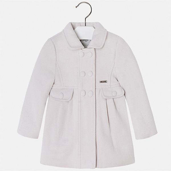 Пальто Mayoral для девочкиВерхняя одежда<br>Характеристики товара:<br><br>• цвет: бежевый<br>• состав ткани: 90% полиэстер, 8% вискоза, 2% эластан, подклад - 100% полиэстер<br>• застежка: пуговицы<br>• длинные рукава<br>• сезон: демисезон<br>• температурный режим: от +5 до -5<br>• страна бренда: Испания<br>• страна изготовитель: Индия<br><br>Стильное пальто классического силуэта для девочки от Майорал поможет обеспечить тепло и комфорт. Эффектное пальто отличается лаконичной отделкой и отложным воротником. <br><br>Детская одежда от испанской компании Mayoral отличаются оригинальным и всегда стильным дизайном. Качество продукции неизменно очень высокое.<br><br>Пальто для девочки Mayoral (Майорал) можно купить в нашем интернет-магазине.<br>Ширина мм: 356; Глубина мм: 10; Высота мм: 245; Вес г: 519; Цвет: бежевый; Возраст от месяцев: 96; Возраст до месяцев: 108; Пол: Женский; Возраст: Детский; Размер: 134,104,110,116,122,128; SKU: 6924297;