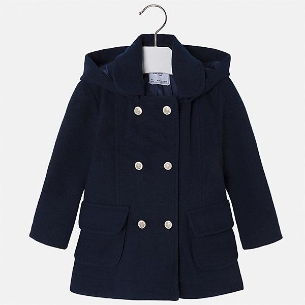 Пальто Mayoral для девочкиВерхняя одежда<br>Характеристики товара:<br><br>• цвет: синий<br>• состав ткани: 95% полиэстер, 3% акрил, 2% эластан, подклад - 100% полиэстер<br>• застежка: пуговицы<br>• длинные рукава<br>• сезон: демисезон<br>• температурный режим: от+5 до -5<br>• страна бренда: Испания<br>• страна изготовитель: Индия<br><br>Синее пальто для девочки сможет обеспечить тепло в период межсезонья. Модель сделана из качественного материала, есть подкладка и капюшон. Модное пальто от Майорал - это пример отличного вкуса и высокого качества. <br><br>В одежде от испанской компании Майорал ребенок будет выглядеть модно, а чувствовать себя - комфортно. Целая команда европейских талантливых дизайнеров работает над созданием стильных и оригинальных моделей одежды.<br><br>Пальто для девочки Mayoral (Майорал) можно купить в нашем интернет-магазине.<br><br>Ширина мм: 356<br>Глубина мм: 10<br>Высота мм: 245<br>Вес г: 519<br>Цвет: синий<br>Возраст от месяцев: 96<br>Возраст до месяцев: 108<br>Пол: Женский<br>Возраст: Детский<br>Размер: 134,92,128,122,116,110,104,98<br>SKU: 6924320