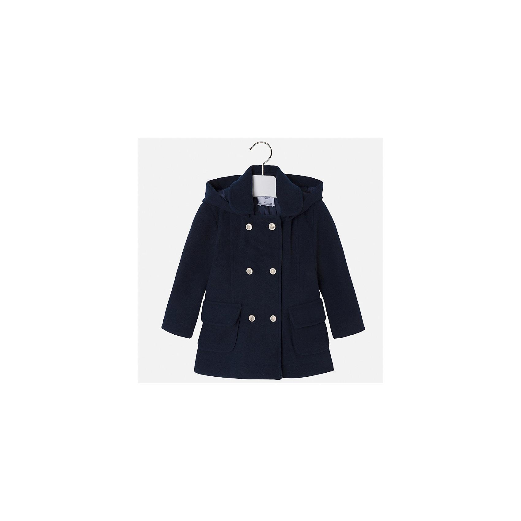 Пальто Mayoral для девочкиВерхняя одежда<br>Характеристики товара:<br><br>• цвет: синий<br>• состав ткани: 95% полиэстер, 3% акрил, 2% эластан, подклад - 100% полиэстер<br>• застежка: пуговицы<br>• длинные рукава<br>• сезон: демисезон<br>• температурный режим: от+5 до -5<br>• страна бренда: Испания<br>• страна изготовитель: Индия<br><br>Синее пальто для девочки сможет обеспечить тепло в период межсезонья. Модель сделана из качественного материала, есть подкладка и капюшон. Модное пальто от Майорал - это пример отличного вкуса и высокого качества. <br><br>В одежде от испанской компании Майорал ребенок будет выглядеть модно, а чувствовать себя - комфортно. Целая команда европейских талантливых дизайнеров работает над созданием стильных и оригинальных моделей одежды.<br><br>Пальто для девочки Mayoral (Майорал) можно купить в нашем интернет-магазине.<br><br>Ширина мм: 356<br>Глубина мм: 10<br>Высота мм: 245<br>Вес г: 519<br>Цвет: синий<br>Возраст от месяцев: 18<br>Возраст до месяцев: 24<br>Пол: Женский<br>Возраст: Детский<br>Размер: 92,98,104,110,116,122,128,134<br>SKU: 6924320