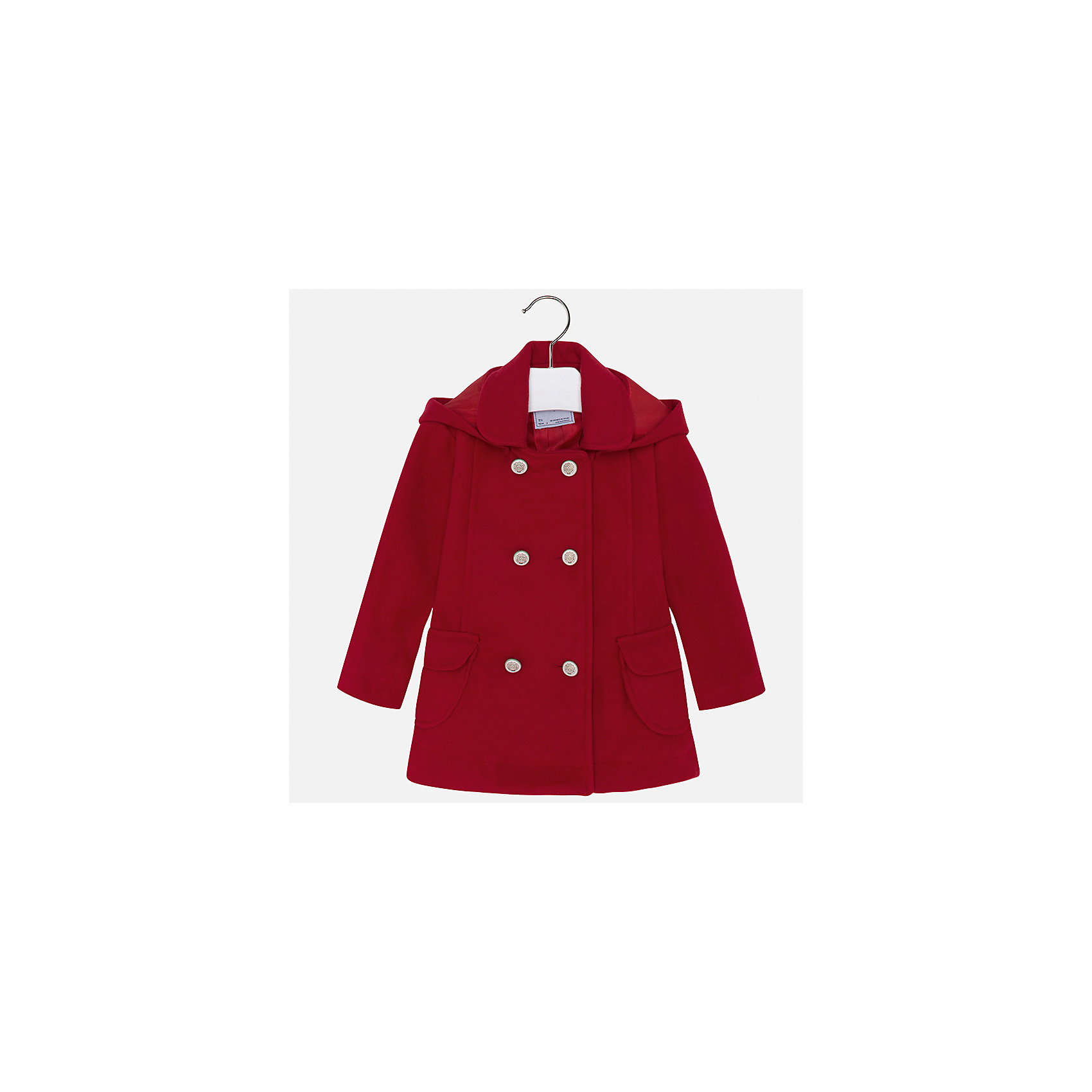 Пальто Mayoral для девочкиВерхняя одежда<br>Характеристики товара:<br><br>• цвет: красный<br>• состав ткани: 95% полиэстер, 3% акрил, 2% эластан, подклад - 100% полиэстер<br>• застежка: пуговицы<br>• длинные рукава<br>• сезон: демисезон<br>• температурный режим: от +5 до -5<br>• страна бренда: Испания<br>• страна изготовитель: Индия<br><br>Красивое пальто модного силуэта для девочки от Майорал поможет обеспечить тепло и комфорт. Эффектное пальто отличается лаконичной отделкой и отложным воротником. <br><br>Детская одежда от испанской компании Mayoral отличаются оригинальным и всегда стильным дизайном. Качество продукции неизменно очень высокое.<br><br>Пальто для девочки Mayoral (Майорал) можно купить в нашем интернет-магазине.<br><br>Ширина мм: 356<br>Глубина мм: 10<br>Высота мм: 245<br>Вес г: 519<br>Цвет: красный<br>Возраст от месяцев: 96<br>Возраст до месяцев: 108<br>Пол: Женский<br>Возраст: Детский<br>Размер: 134,110,116,92,98,104,122,128<br>SKU: 6924329
