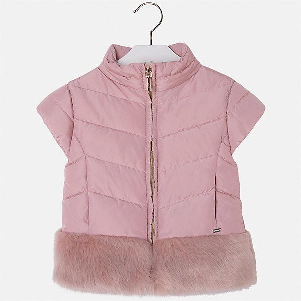 Жилет для девочки MayoralВерхняя одежда<br>Характеристики товара:<br><br>• цвет: розовый<br>• состав ткани: 70% полиэстер, 30% акрил, подклад - 100% нейлон, утеплитель -100% полиэстер<br>• застежка: молния<br>• короткие рукава<br>• сезон: круглый год<br>• страна бренда: Испания<br>• страна изготовитель: Индия<br><br>Теплый жилет для девочки сможет обеспечить тепло зимой или в прохладный летний вечер. Модель сделана из качественного материала, особенно эффектно смотрится отделка из искусственного меха. Модный жилет от Майорал - это пример отличного вкуса и высокого качества. <br><br>В одежде от испанской компании Майорал ребенок будет выглядеть модно, а чувствовать себя - комфортно. Целая команда европейских талантливых дизайнеров работает над созданием стильных и оригинальных моделей одежды.<br><br>Жилет для девочки Mayoral (Майорал) можно купить в нашем интернет-магазине.<br><br>Ширина мм: 190<br>Глубина мм: 74<br>Высота мм: 229<br>Вес г: 236<br>Цвет: розовый<br>Возраст от месяцев: 96<br>Возраст до месяцев: 108<br>Пол: Женский<br>Возраст: Детский<br>Размер: 134,104,128,122,116,110<br>SKU: 6924347