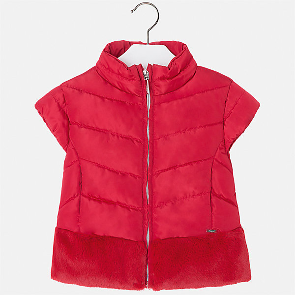 Жилет для девочки MayoralВерхняя одежда<br>Характеристики товара:<br><br>• цвет: красный<br>• состав ткани: 70% полиэстер, 30% акрил, подклад - 100% нейлон, утеплитель -100% полиэстер<br>• застежка: молния<br>• короткие рукава<br>• сезон: круглый год<br>• страна бренда: Испания<br>• страна изготовитель: Индия<br><br>Красный жилет декорирован отделкой из искусственного меха. Стильный жилет для девочки от бренда Майорал поможет девочке выглядеть модно и чувствовать себя комфортно. <br><br>Для производства детской одежды популярный бренд Mayoral использует только качественную фурнитуру и материалы. Оригинальные и модные вещи от Майорал неизменно привлекают внимание и нравятся детям.<br><br>Жилет для девочки Mayoral (Майорал) можно купить в нашем интернет-магазине.<br>Ширина мм: 190; Глубина мм: 74; Высота мм: 229; Вес г: 236; Цвет: красный; Возраст от месяцев: 48; Возраст до месяцев: 60; Пол: Женский; Возраст: Детский; Размер: 110,104,134,128,122,116; SKU: 6924361;