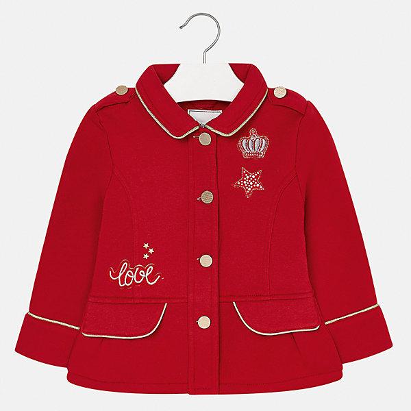 Пиджак для девочки MayoralВерхняя одежда<br>Характеристики товара:<br><br>• цвет: красный<br>• состав ткани: 80% полиэстер, 20% хлопок<br>• застежка: пуговицы<br>• стразы<br>• сезон: круглый год<br>• страна бренда: Испания<br>• страна изготовитель: Индия<br><br>Этот пиджак для девочки эффектно смотрится благодаря интересной отделке. Модный пиджак от Майорал - это пример отличного вкуса и высокого качества. <br><br>В одежде от испанской компании Майорал ребенок будет выглядеть модно, а чувствовать себя - комфортно. Целая команда европейских талантливых дизайнеров работает над созданием стильных и оригинальных моделей одежды.<br><br>Пиджак для девочки Mayoral (Майорал) можно купить в нашем интернет-магазине.<br><br>Ширина мм: 190<br>Глубина мм: 74<br>Высота мм: 229<br>Вес г: 236<br>Цвет: красный<br>Возраст от месяцев: 24<br>Возраст до месяцев: 36<br>Пол: Женский<br>Возраст: Детский<br>Размер: 98,134,128,122,116,110,104<br>SKU: 6924411