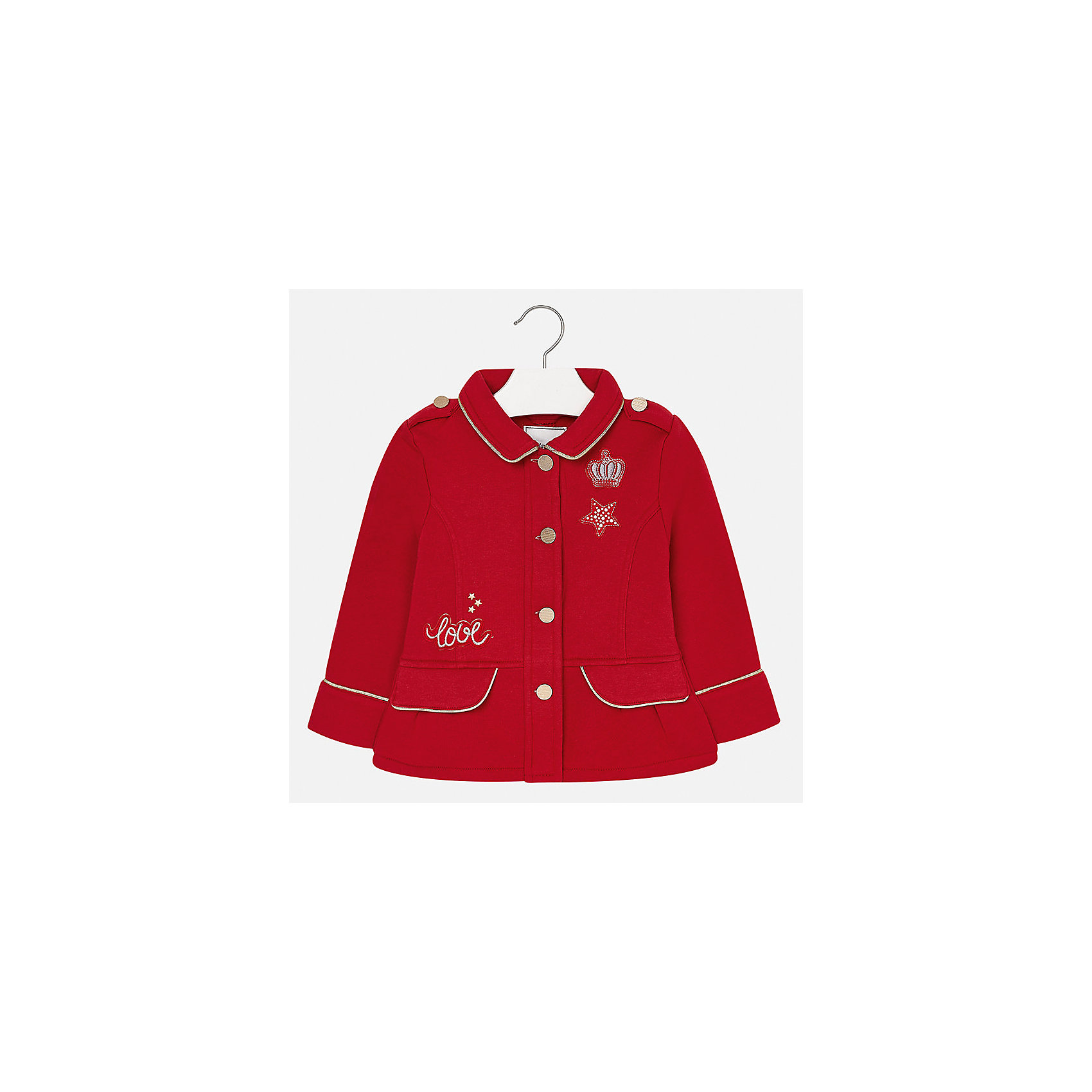 Пиджак для девочки MayoralВетровки и жакеты<br>Характеристики товара:<br><br>• цвет: красный<br>• состав ткани: 80% полиэстер, 20% хлопок<br>• застежка: пуговицы<br>• стразы<br>• сезон: круглый год<br>• страна бренда: Испания<br>• страна изготовитель: Индия<br><br>Этот пиджак для девочки эффектно смотрится благодаря интересной отделке. Модный пиджак от Майорал - это пример отличного вкуса и высокого качества. <br><br>В одежде от испанской компании Майорал ребенок будет выглядеть модно, а чувствовать себя - комфортно. Целая команда европейских талантливых дизайнеров работает над созданием стильных и оригинальных моделей одежды.<br><br>Пиджак для девочки Mayoral (Майорал) можно купить в нашем интернет-магазине.<br><br>Ширина мм: 190<br>Глубина мм: 74<br>Высота мм: 229<br>Вес г: 236<br>Цвет: красный<br>Возраст от месяцев: 96<br>Возраст до месяцев: 108<br>Пол: Женский<br>Возраст: Детский<br>Размер: 134,98,104,110,116,122,128<br>SKU: 6924411