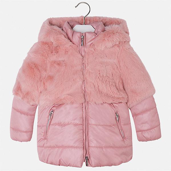 Куртка для девочки MayoralВерхняя одежда<br>Характеристики товара:<br><br>• цвет: розовый<br>• состав ткани: 58% полиэстер, 42% акрил, подклад - 65% полиэстер, 35% акрил, утеплитель - 100% полиэстер<br>• застежка: молния<br>• длинные рукава<br>• сезон: демисезон<br>• температурный режим: от 0 до -10С<br>• страна бренда: Испания<br>• страна изготовитель: Индия<br><br>Эта утепленная куртка поможет сделать образ стильным и оригинальным. Куртка с отделкой из искусственного меха соответствует новейшим тенденциям молодежной моды. <br><br>Детская одежда от испанской компании Mayoral отличаются оригинальным и всегда стильным дизайном. Качество продукции неизменно очень высокое.<br><br>Куртку для девочки Mayoral (Майорал) можно купить в нашем интернет-магазине.<br><br>Ширина мм: 356<br>Глубина мм: 10<br>Высота мм: 245<br>Вес г: 519<br>Цвет: розовый<br>Возраст от месяцев: 18<br>Возраст до месяцев: 24<br>Пол: Женский<br>Возраст: Детский<br>Размер: 92,134,128,122,116,110,104,98<br>SKU: 6924419