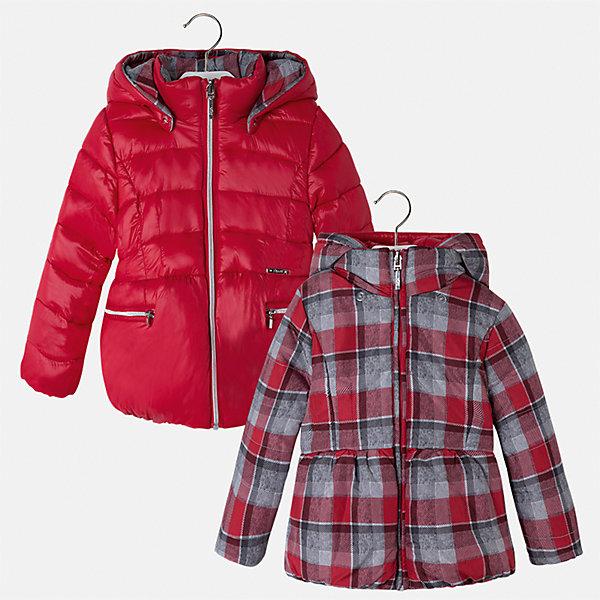 Куртка для девочки MayoralВерхняя одежда<br>Характеристики товара:<br><br>• цвет: красный<br>• состав ткани: 100% полиамид, подклад - 100% полиэстер, утеплитель - 100% полиэстер<br>• застежка: молния<br>• длинные рукава<br>• двусторонняя<br>• сезон: демисезон<br>• температурный режим: от 0 до -10С<br>• страна бренда: Испания<br>• страна изготовитель: Китай<br><br>Модная двусторонняя куртка сделана из качественного материала. Такая куртка для девочки от бренда Майорал поможет ребенку выглядеть модно и чувствовать себя комфортно. <br><br>Для производства детской одежды популярный бренд Mayoral использует только качественную фурнитуру и материалы. Оригинальные и модные вещи от Майорал неизменно привлекают внимание и нравятся детям.<br><br>Куртку для девочки Mayoral (Майорал) можно купить в нашем интернет-магазине.<br>Ширина мм: 356; Глубина мм: 10; Высота мм: 245; Вес г: 519; Цвет: красный; Возраст от месяцев: 18; Возраст до месяцев: 24; Пол: Женский; Возраст: Детский; Размер: 92,134,128,122,116,110,104,98; SKU: 6924483;