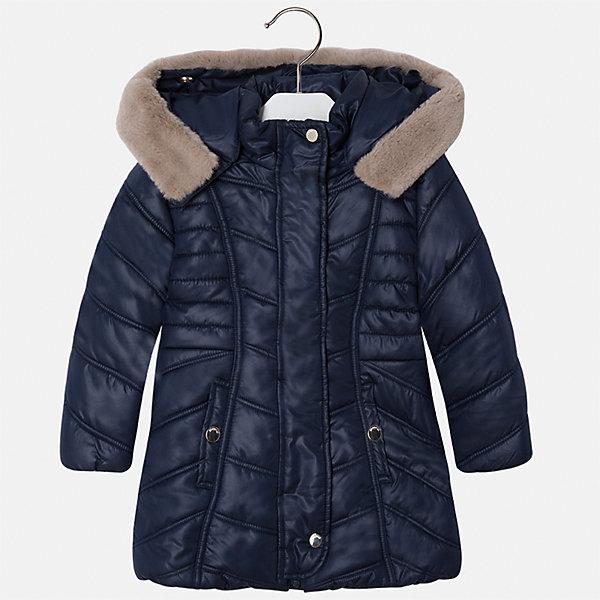 Куртка для девочки MayoralВерхняя одежда<br>Характеристики товара:<br><br>• цвет: черный<br>• состав ткани: 100% полиэстер, подклад - 100% полиэстер, утеплитель - 100% полиэстер<br>• застежка: молния<br>• длинные рукава<br>• опушка капюшона<br>• сезон: демисезон<br>• температурный режим: от 0 до -10С<br>• страна бренда: Испания<br>• страна изготовитель: Китай<br><br>Эта практичная и красивая куртка обеспечит ребенку тепло в межсезонье и небольшие морозы. Капюшон отстегивается. Куртка от Mayoral соответствует новейшим тенденциям молодежной моды. <br><br>Детская одежда от испанской компании Mayoral отличаются оригинальным и всегда стильным дизайном. Качество продукции неизменно очень высокое.<br><br>Куртку для девочки Mayoral (Майорал) можно купить в нашем интернет-магазине.<br><br>Ширина мм: 356<br>Глубина мм: 10<br>Высота мм: 245<br>Вес г: 519<br>Цвет: черный<br>Возраст от месяцев: 18<br>Возраст до месяцев: 24<br>Пол: Женский<br>Возраст: Детский<br>Размер: 92,134,128,122,116,110,104,98<br>SKU: 6924528
