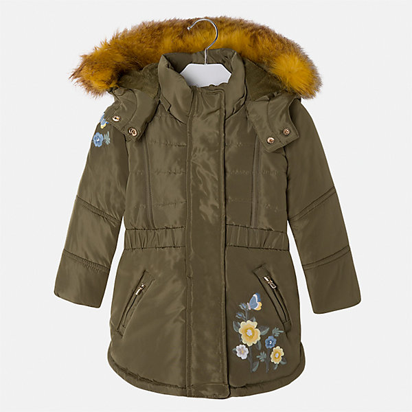 Куртка для девочки MayoralВерхняя одежда<br>Характеристики товара:<br><br>• цвет: зеленый<br>• состав ткани: 100% полиэстер, подклад - 100% полиэстер, утеплитель - 100% полиэстер<br>• застежка: молния<br>• длинные рукава<br>• опушка капюшона<br>• сезон: демисезон<br>• температурный режим: от 0 до -10С<br>• страна бренда: Испания<br>• страна изготовитель: Китай<br><br>Утепленная куртка модной расцветки сделана из качественного материала. Такая куртка для девочки от бренда Майорал поможет ребенку выглядеть модно и чувствовать себя комфортно. Капюшон съемный. <br><br>Для производства детской одежды популярный бренд Mayoral использует только качественную фурнитуру и материалы. Оригинальные и модные вещи от Майорал неизменно привлекают внимание и нравятся детям.<br><br>Куртку для девочки Mayoral (Майорал) можно купить в нашем интернет-магазине.<br><br>Ширина мм: 356<br>Глубина мм: 10<br>Высота мм: 245<br>Вес г: 519<br>Цвет: зеленый<br>Возраст от месяцев: 72<br>Возраст до месяцев: 84<br>Пол: Женский<br>Возраст: Детский<br>Размер: 122,92,98,104,110,116<br>SKU: 6924537