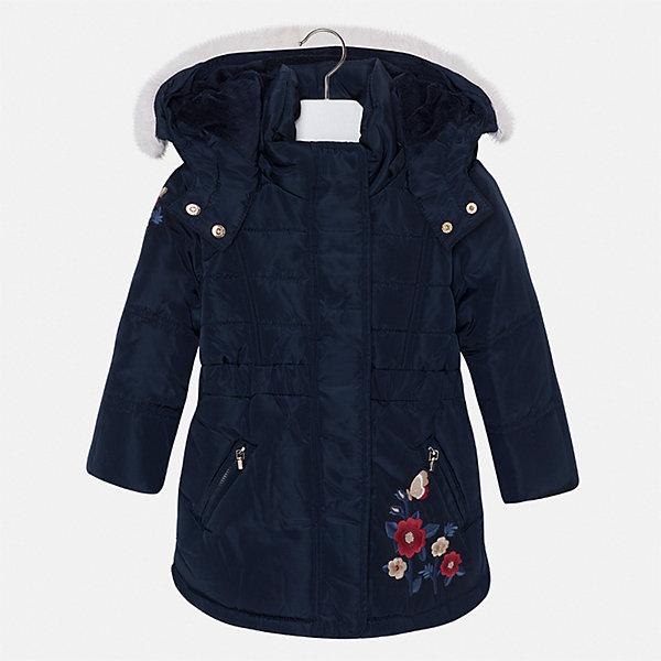 Куртка для девочки MayoralВерхняя одежда<br>Характеристики товара:<br><br>• цвет: черный<br>• состав ткани: 100% полиэстер, подклад - 100% полиэстер, утеплитель - 100% полиэстер<br>• застежка: молния<br>• длинные рукава<br>• опушка капюшона<br>• сезон: демисезон<br>• температурный режим: от 0 до -10С<br>• страна бренда: Испания<br>• страна изготовитель: Китай<br><br>Куртка от Mayoral соответствует новейшим тенденциям молодежной моды. Эта практичная и красивая куртка обеспечит ребенку тепло в межсезонье и небольшие морозы. Капюшон отстегивается. <br><br>Детская одежда от испанской компании Mayoral отличаются оригинальным и всегда стильным дизайном. Качество продукции неизменно очень высокое.<br><br>Куртку для девочки Mayoral (Майорал) можно купить в нашем интернет-магазине.<br><br>Ширина мм: 356<br>Глубина мм: 10<br>Высота мм: 245<br>Вес г: 519<br>Цвет: темно-синий<br>Возраст от месяцев: 18<br>Возраст до месяцев: 24<br>Пол: Женский<br>Возраст: Детский<br>Размер: 92,98,104,110,116,122,128,134<br>SKU: 6924551