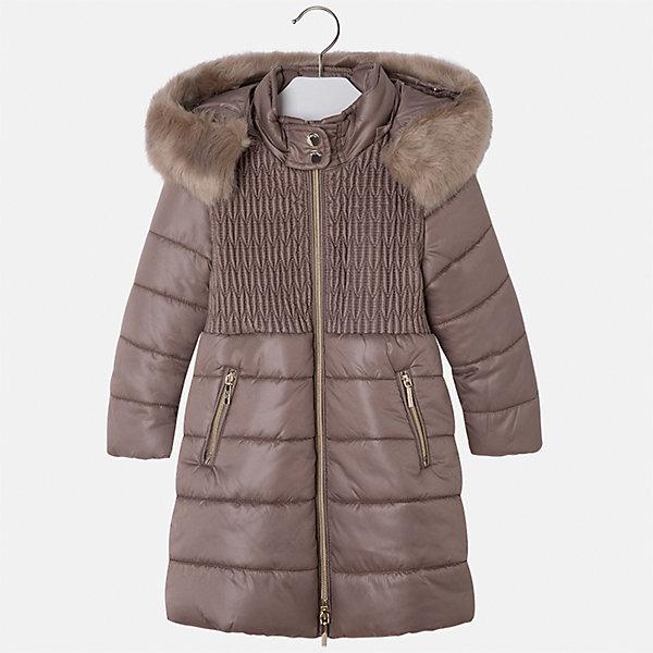 Куртка для девочки MayoralВерхняя одежда<br>Характеристики товара:<br><br>• цвет: бежевый<br>• состав ткани: 100% полиэстер, подклад - 100% полиэстер, утеплитель - 100% полиэстер<br>• застежка: молния<br>• съемный капюшон<br>• карманы<br>• сезон: демисезон<br>• температурный режим: от 0 до -10С<br>• страна бренда: Испания<br>• страна изготовитель: Китай<br><br>Эта практичная и красивая куртка обеспечит ребенку тепло в межсезонье и небольшие морозы. Капюшон не ней отстегивается. Куртка от Mayoral соответствует новейшим тенденциям молодежной моды. <br><br>Детская одежда от испанской компании Mayoral отличаются оригинальным и всегда стильным дизайном. Качество продукции неизменно очень высокое.<br><br>Куртку для девочки Mayoral (Майорал) можно купить в нашем интернет-магазине.<br>Ширина мм: 356; Глубина мм: 10; Высота мм: 245; Вес г: 519; Цвет: коричневый; Возраст от месяцев: 96; Возраст до месяцев: 108; Пол: Женский; Возраст: Детский; Размер: 134,116,98,104,110,122,128; SKU: 6924605;
