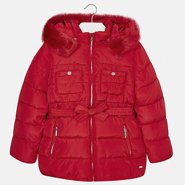 Куртка для девочки MayoralВерхняя одежда<br>Характеристики товара:<br><br>• цвет: красный<br>• состав ткани: 100% полиэстер, подклад - 100% полиэстер, утеплитель - 100% полиэстер<br>• застежка: молния<br>• съемный капюшон<br>• карманы<br>• сезон: зима<br>• температурный режим: от 0 до -10С<br>• страна бренда: Испания<br>• страна изготовитель: Китай<br><br>Такая куртка от Mayoral соответствует новейшим тенденциям молодежной моды. Эффектная красная куртка обеспечит ребенку тепло в межсезонье и небольшие морозы. Капюшон не ней отстегивается. <br><br>Детская одежда от испанской компании Mayoral отличаются оригинальным и всегда стильным дизайном. Качество продукции неизменно очень высокое.<br><br>Куртку для девочки Mayoral (Майорал) можно купить в нашем интернет-магазине.<br><br>Ширина мм: 356<br>Глубина мм: 10<br>Высота мм: 245<br>Вес г: 519<br>Цвет: красный<br>Возраст от месяцев: 18<br>Возраст до месяцев: 24<br>Пол: Женский<br>Возраст: Детский<br>Размер: 92,134,128,122,116,110,104,98<br>SKU: 6924655