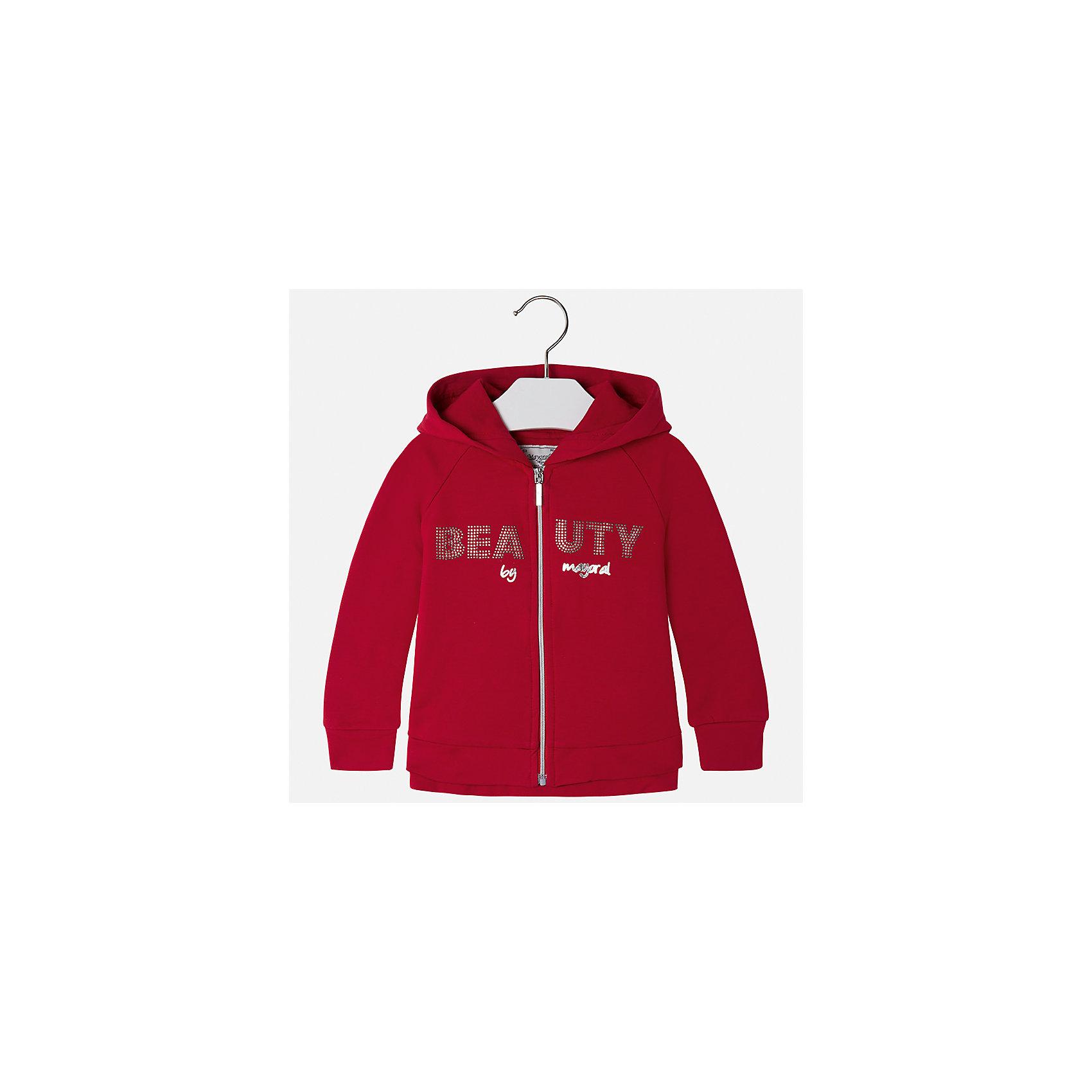 Куртка Mayoral для девочкиДемисезонные куртки<br>Характеристики товара:<br><br>• цвет: красный<br>• состав ткани: 95% хлопок, 5% эластан<br>• застежка: молния<br>• капюшон<br>• стразы<br>• сезон: круглый год<br>• страна бренда: Испания<br>• страна изготовитель: Китай<br><br>Легкая куртка для девочки эффектно смотрится благодаря блестящему принту. Такая куртка от Майорал - это пример отличного вкуса и высокого качества. <br><br>В одежде от испанской компании Майорал ребенок будет выглядеть модно, а чувствовать себя - комфортно. Целая команда европейских талантливых дизайнеров работает над созданием стильных и оригинальных моделей одежды.<br><br>Куртку для девочки Mayoral (Майорал) можно купить в нашем интернет-магазине.<br><br>Ширина мм: 356<br>Глубина мм: 10<br>Высота мм: 245<br>Вес г: 519<br>Цвет: красный<br>Возраст от месяцев: 84<br>Возраст до месяцев: 96<br>Пол: Женский<br>Возраст: Детский<br>Размер: 128,134,92,98,104,110,116,122<br>SKU: 6924701