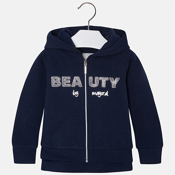 Куртка Mayoral для девочкиВерхняя одежда<br>Характеристики товара:<br><br>• цвет: синий<br>• состав ткани: 95% хлопок, 5% эластан<br>• застежка: молния<br>• капюшон<br>• стразы<br>• сезон: круглый год<br>• страна бренда: Испания<br>• страна изготовитель: Китай<br><br>Такая куртка для девочки от бренда Майорал поможет ребенку выглядеть модно и чувствовать себя комфортно. Синяя легкая куртка Mayoral сделана из качественного материала, у неё мягкая приятная на ощупь подкладка. <br><br>Для производства детской одежды популярный бренд Mayoral использует только качественную фурнитуру и материалы. Оригинальные и модные вещи от Майорал неизменно привлекают внимание и нравятся детям.<br><br>Куртку для девочки Mayoral (Майорал) можно купить в нашем интернет-магазине.<br><br>Ширина мм: 356<br>Глубина мм: 10<br>Высота мм: 245<br>Вес г: 519<br>Цвет: синий<br>Возраст от месяцев: 18<br>Возраст до месяцев: 24<br>Пол: Женский<br>Возраст: Детский<br>Размер: 92,134,128,122,116,110,104,98<br>SKU: 6924710