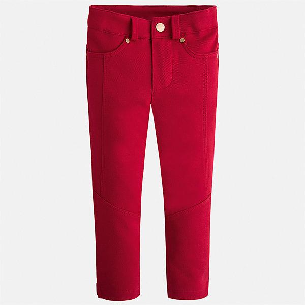 Брюки Mayoral для девочкиБрюки<br>Характеристики товара:<br><br>• цвет: красный<br>• состав ткани: 71% хлопок, 25% полиэстер, 4% эластан<br>• застежка: пуговица<br>• сезон: круглый год<br>• шлевки<br>• страна бренда: Испания<br>• страна изготовитель: Китай<br><br>Красные детские брюки от Майорал - это пример отличного вкуса и высокого качества. Стильные брюки для девочки эффектно смотрятся благодаря яркому цвету. <br><br>В одежде от испанской компании Майорал ребенок будет выглядеть модно, а чувствовать себя - комфортно. Целая команда европейских талантливых дизайнеров работает над созданием стильных и оригинальных моделей одежды.<br><br>Брюки для девочки Mayoral (Майорал) можно купить в нашем интернет-магазине.<br>Ширина мм: 215; Глубина мм: 88; Высота мм: 191; Вес г: 336; Цвет: красный; Возраст от месяцев: 18; Возраст до месяцев: 24; Пол: Женский; Возраст: Детский; Размер: 92,134,128,122,116,110,104,98; SKU: 6924886;