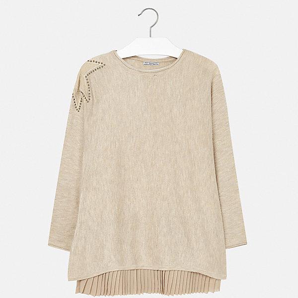 Платье для девочки MayoralОсенне-зимние платья и сарафаны<br>Характеристики товара:<br><br>• цвет: коричневый<br>• состав ткани платья: 80% полиэстер, 20% хлопок, подкладка - 65% полиэстер, 35% хлопок<br>• состав ткани свитера: 47% полиамид, 47% акрил, 6% ангора<br>• комплект: свитер, платье<br>• сезон: демисезон<br>• особенности: кружева, стразы<br>• длинные рукава<br>• страна бренда: Испания<br>• страна изготовитель: Индия<br><br>Модное платье для девочки от Майорал отличается красивой посадкой. Детской платье продается в комплекте со свитером. В таком платье для девочки от бренда Майорал ребенок будет выглядеть стильно. <br><br>Комплект: платье и свитер для девочки Mayoral (Майорал) можно купить в нашем интернет-магазине.<br><br>Ширина мм: 236<br>Глубина мм: 16<br>Высота мм: 184<br>Вес г: 177<br>Цвет: коричневый<br>Возраст от месяцев: 96<br>Возраст до месяцев: 108<br>Пол: Женский<br>Возраст: Детский<br>Размер: 128/134,170,164,158,152,140<br>SKU: 6925253