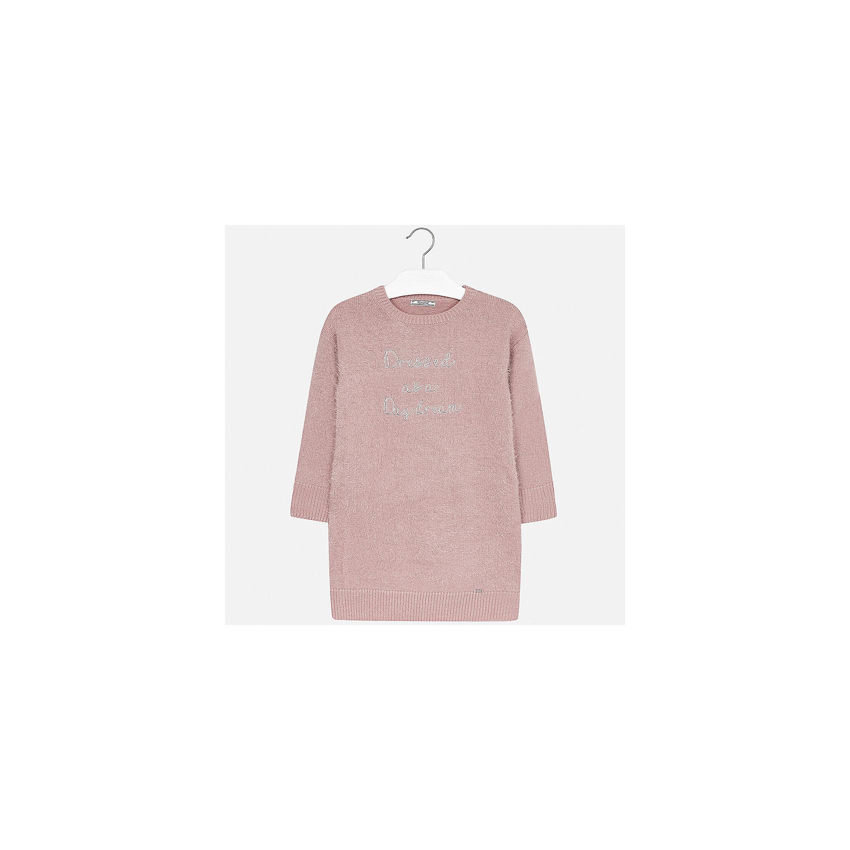 Платье Mayoral для девочкиПлатья и сарафаны<br>Характеристики товара:<br><br>• цвет: розовый<br>• состав ткани: 62% полиамид, 38% акрил<br>• сезон: круглый год<br>• длинные рукава<br>• вышивка<br>• страна бренда: Испания<br>• страна изготовитель: Китай<br><br>Розовое платье Mayoral обеспечит ребенку комфорт, это - универсальный наряд на разные случаи. Платье для девочки от Майорал симпатично смотрится благодаря мелкой вязке и вышивке.<br><br>Детская одежда от испанской компании Mayoral отличаются оригинальным и всегда стильным дизайном. Качество продукции неизменно очень высокое.<br><br>Платье для девочки Mayoral (Майорал) можно купить в нашем интернет-магазине.<br><br>Ширина мм: 236<br>Глубина мм: 16<br>Высота мм: 184<br>Вес г: 177<br>Цвет: розовый<br>Возраст от месяцев: 168<br>Возраст до месяцев: 180<br>Пол: Женский<br>Возраст: Детский<br>Размер: 170,128/134,140,152,158,164<br>SKU: 6925316