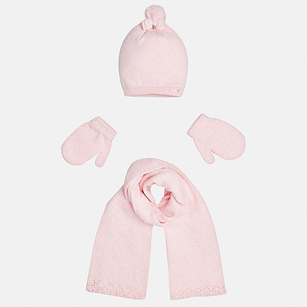 Комплект: шапка, шарф и варежки для девочки MayoralГоловные уборы<br>Характеристики товара:<br><br>• цвет: розовый<br>• состав ткани: 60% хлопок, 30% полиамид, 10% ангора<br>• сезон: демисезон<br>• комплектация: шапка, шарф, варежки<br>• страна бренда: Испания<br>• страна изготовитель: Индия<br><br>Симпатичные шапка, шарф и варежки для девочки от популярного бренда Mayoral отличаются нарядным декором в виде ажурных краев и банта. Детский набор смотрится аккуратно и стильно.<br><br>В одежде от испанской компании Майорал ребенок будет выглядеть модно, а чувствовать себя - комфортно. Целая команда европейских талантливых дизайнеров работает над созданием стильных и оригинальных моделей одежды. <br><br>Комплект: шапка, шарф и варежки для девочки Mayoral (Майорал) можно купить в нашем интернет-магазине.<br><br>Ширина мм: 89<br>Глубина мм: 117<br>Высота мм: 44<br>Вес г: 155<br>Цвет: розовый<br>Возраст от месяцев: 12<br>Возраст до месяцев: 18<br>Пол: Женский<br>Возраст: Детский<br>Размер: one size<br>SKU: 6925409