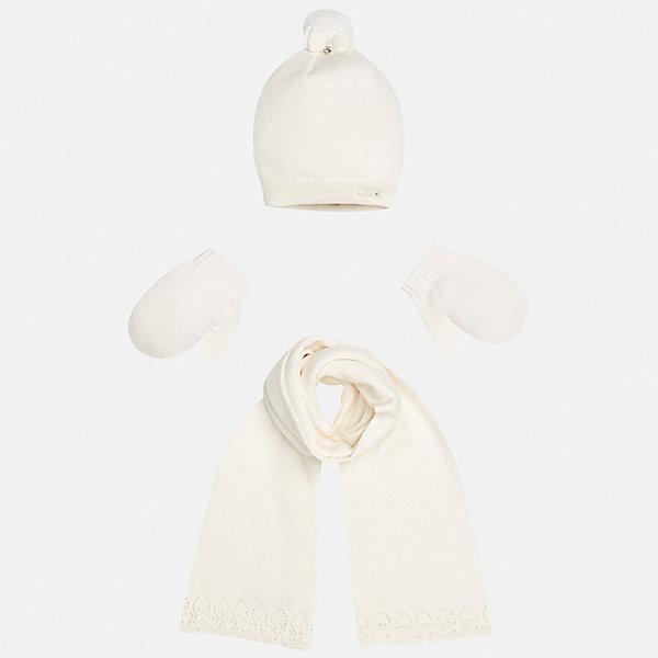Комплект: шапка, шарф и варежки для девочки MayoralШарфы, платки<br>Характеристики товара:<br><br>• цвет: бежевый<br>• состав ткани: 60% хлопок, 30% полиамид, 10% ангора<br>• сезон: демисезон<br>• комплектация: шапка, шарф, варежки<br>• страна бренда: Испания<br>• страна изготовитель: Индия<br><br>Бежевые шапка, шарф и варежки от популярного испанского бренда Mayoral состоят преимущественно из натурального дышащего хлопка. Шапка и варежки комфортно сидят благодаря мягкой резинке.<br><br>Для производства детской одежды популярный бренд Mayoral используют только качественную фурнитуру и материалы. Оригинальные и модные вещи от Майорал неизменно привлекают внимание и нравятся детям.<br><br>Комплект: шапка, шарф и варежки для девочки Mayoral (Майорал) можно купить в нашем интернет-магазине.<br>Ширина мм: 89; Глубина мм: 117; Высота мм: 44; Вес г: 155; Цвет: бежевый; Возраст от месяцев: 12; Возраст до месяцев: 18; Пол: Женский; Возраст: Детский; Размер: one size; SKU: 6925411;