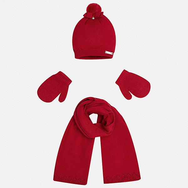 Комплект: шапка, шарф и варежки для девочки MayoralКомплекты<br>Характеристики товара:<br><br>• цвет: красный<br>• состав ткани: 60% хлопок, 30% полиамид, 10% ангора<br>• сезон: демисезон<br>• комплектация: шапка, шарф, варежки<br>• страна бренда: Испания<br>• страна изготовитель: Индия<br><br>Красный детский комплект от Mayoral обеспечит ребенку комфорт и тепло в прохладную погоду. Шапка, шарф и варежки для девочки от Майорал симпатично смотрятся, они удобно сидят благодаря качественному дышащему материалу, состоящему преимущественно из хлопка.<br><br>Детская одежда от испанской компании Mayoral отличаются оригинальным и всегда стильным дизайном. Качество продукции неизменно очень высокое.<br><br>Комплект: шапка, шарф и варежки для девочки Mayoral (Майорал) можно купить в нашем интернет-магазине.<br><br>Ширина мм: 89<br>Глубина мм: 117<br>Высота мм: 44<br>Вес г: 155<br>Цвет: красный<br>Возраст от месяцев: 12<br>Возраст до месяцев: 18<br>Пол: Женский<br>Возраст: Детский<br>Размер: one size<br>SKU: 6925413
