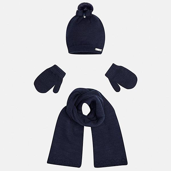 Комплект: шапка, шарф и варежки для девочки MayoralГоловные уборы<br>Характеристики товара:<br><br>• цвет: синий<br>• состав ткани: 60% хлопок, 30% полиамид, 10% ангора<br>• сезон: демисезон<br>• комплектация: шапка, шарф, варежки<br>• страна бренда: Испания<br>• страна изготовитель: Индия<br><br>Симпатичные шапка, шарф и варежки для девочки от популярного бренда Mayoral отличаются нарядным декором в виде ажурных краев и банта. Детский набор смотрится аккуратно и стильно, сидит комфортно.<br><br>В одежде от испанской компании Майорал ребенок будет выглядеть модно, а чувствовать себя - комфортно. Целая команда европейских талантливых дизайнеров работает над созданием стильных и оригинальных моделей одежды. <br><br>Комплект: шапка, шарф и варежки для девочки Mayoral (Майорал) можно купить в нашем интернет-магазине.<br><br>Ширина мм: 89<br>Глубина мм: 117<br>Высота мм: 44<br>Вес г: 155<br>Цвет: синий<br>Возраст от месяцев: 12<br>Возраст до месяцев: 18<br>Пол: Женский<br>Возраст: Детский<br>Размер: one size<br>SKU: 6925415
