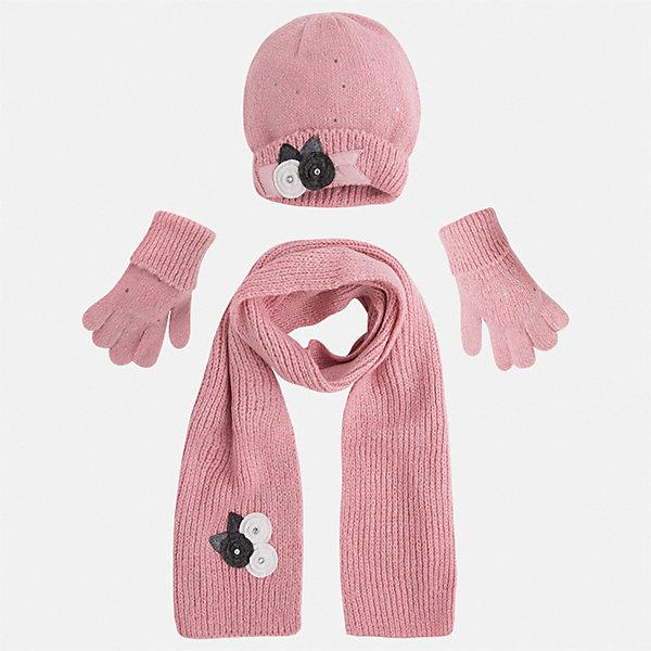 Комплект: шапка, шарф и перчатки для девочки MayoralШарфы, платки<br>Характеристики товара:<br><br>• цвет: розовый<br>• состав ткани: 75% акрил, 25% полиамид<br>• сезон: демисезон<br>• комплектация: шапка, шарф, перчатки<br>• страна бренда: Испания<br>• страна изготовитель: Индия<br><br>Симпатичные шапка, шарф и перчатки для девочки от популярного бренда Mayoral отличаются нарядным декором в виде вязаных цветов. Детский набор смотрится аккуратно и стильно.<br><br>В одежде от испанской компании Майорал ребенок будет выглядеть модно, а чувствовать себя - комфортно. Целая команда европейских талантливых дизайнеров работает над созданием стильных и оригинальных моделей одежды. <br><br>Комплект: шапка, шарф и перчатки для девочки Mayoral (Майорал) можно купить в нашем интернет-магазине.<br>Ширина мм: 89; Глубина мм: 117; Высота мм: 44; Вес г: 155; Цвет: розовый; Возраст от месяцев: 24; Возраст до месяцев: 36; Пол: Женский; Возраст: Детский; Размер: 50,54,52; SKU: 6925615;