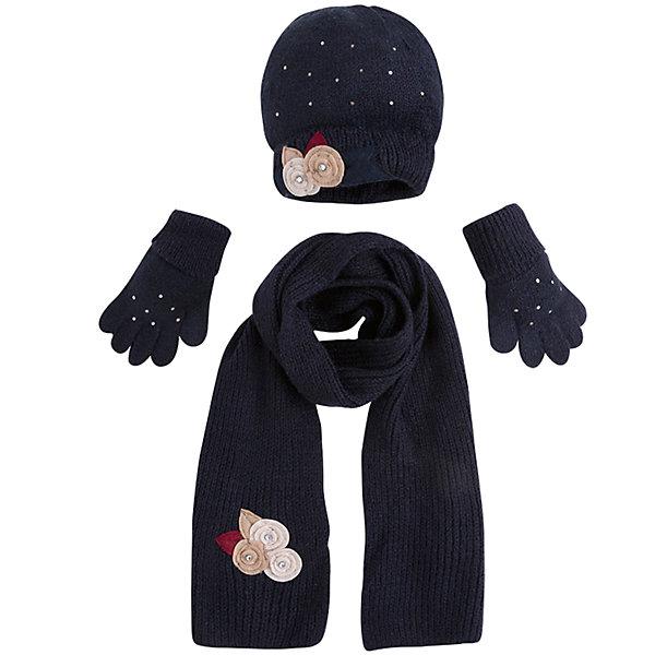 Комплект: шапка, шарф и перчатки для девочки MayoralШарфы, платки<br>Характеристики товара:<br><br>• цвет: черный<br>• состав ткани: 75% акрил, 25% полиамид<br>• сезон: демисезон<br>• комплектация: шапка, шарф, перчатки<br>• страна бренда: Испания<br>• страна изготовитель: Индия<br><br>Практичный демисезонный детский набор смотрится аккуратно и стильно. Симпатичные шапка, шарф и перчатки для девочки от популярного бренда Mayoral отличаются нарядным декором в виде вязаных цветов. <br><br>Для производства детской одежды популярный бренд Mayoral используют только качественную фурнитуру и материалы. Оригинальные и модные вещи от Майорал неизменно привлекают внимание и нравятся детям.<br><br>Комплект: шапка, шарф и перчатки для девочки Mayoral (Майорал) можно купить в нашем интернет-магазине.<br><br>Ширина мм: 89<br>Глубина мм: 117<br>Высота мм: 44<br>Вес г: 155<br>Цвет: темно-синий<br>Возраст от месяцев: 24<br>Возраст до месяцев: 36<br>Пол: Женский<br>Возраст: Детский<br>Размер: 50,54,52<br>SKU: 6925623