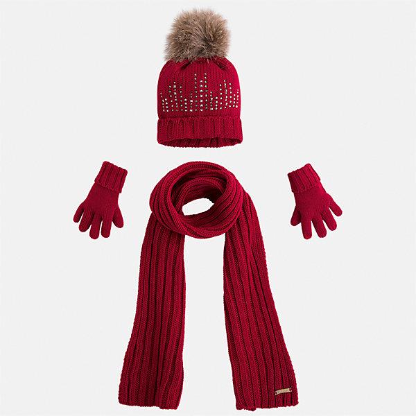 Комплект: шапка, шарф и перчатки Mayoral для девочкиКомплекты<br>Характеристики товара:<br><br>• цвет: красный<br>• состав ткани: 100% акрил<br>• сезон: демисезон<br>• комплектация: шапка, шарф, перчатки<br>• страна бренда: Испания<br>• страна изготовитель: Индия<br><br>Вязаные шапка, шарф и перчатки для девочки от популярного бренда Mayoral отличаются интересным декором. Детский набор смотрится аккуратно и стильно.<br><br>В одежде от испанской компании Майорал ребенок будет выглядеть модно, а чувствовать себя - комфортно. Целая команда европейских талантливых дизайнеров работает над созданием стильных и оригинальных моделей одежды. <br><br>Комплект: шапка, шарф и перчатки для девочки Mayoral (Майорал) можно купить в нашем интернет-магазине.<br>Ширина мм: 89; Глубина мм: 117; Высота мм: 44; Вес г: 155; Цвет: красный; Возраст от месяцев: 24; Возраст до месяцев: 36; Пол: Женский; Возраст: Детский; Размер: 50,54,52; SKU: 6925627;