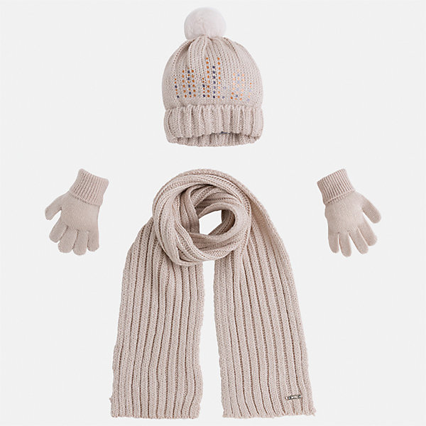Комплект: шапка, шарф и перчатки для девочки MayoralШарфы, платки<br>Характеристики товара:<br><br>• цвет: бежевый<br>• состав ткани: 100% акрил<br>• сезон: демисезон<br>• комплектация: шапка, шарф, перчатки<br>• страна бренда: Испания<br>• страна изготовитель: Индия<br><br>Модный комплект - вязаные шапка, шарф и перчатки для девочки от популярного бренда Mayoral - отличается интересным декором. Детский демисезонный набор смотрится аккуратно и стильно.<br><br>В одежде от испанской компании Майорал ребенок будет выглядеть модно, а чувствовать себя - комфортно. Целая команда европейских талантливых дизайнеров работает над созданием стильных и оригинальных моделей одежды. <br><br>Комплект: шапка, шарф и перчатки для девочки Mayoral (Майорал) можно купить в нашем интернет-магазине.<br>Ширина мм: 89; Глубина мм: 117; Высота мм: 44; Вес г: 155; Цвет: бежевый; Возраст от месяцев: 24; Возраст до месяцев: 36; Пол: Женский; Возраст: Детский; Размер: 50,54,52; SKU: 6925639;