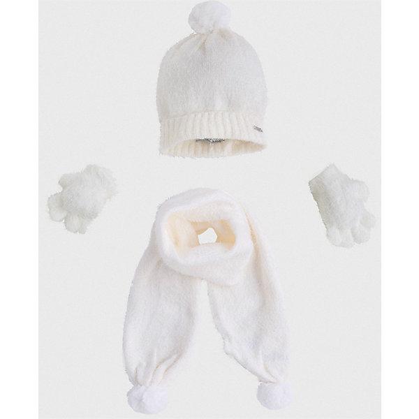 Комплект: шапка, шарф и перчатки для девочки MayoralШарфы, платки<br>Характеристики товара:<br><br>• цвет: бежевый<br>• состав ткани: 81% полиамид, 19% акрил<br>• сезон: демисезон<br>• комплектация: шапка, шарф, перчатки<br>• страна бренда: Испания<br>• страна изготовитель: Индия<br><br>Пушистый демисезонный детский набор смотрится аккуратно и стильно. Симпатичные шапка, шарф и перчатки для девочки от популярного бренда Mayoral поможет дополнить наряд и обеспечить комфорт в прохладную погоду. <br><br>Для производства детской одежды популярный бренд Mayoral используют только качественную фурнитуру и материалы. Оригинальные и модные вещи от Майорал неизменно привлекают внимание и нравятся детям.<br><br>Комплект: шапка, шарф и перчатки для девочки Mayoral (Майорал) можно купить в нашем интернет-магазине.<br>Ширина мм: 89; Глубина мм: 117; Высота мм: 44; Вес г: 155; Цвет: белый; Возраст от месяцев: 72; Возраст до месяцев: 84; Пол: Женский; Возраст: Детский; Размер: 54,50,52; SKU: 6925647;