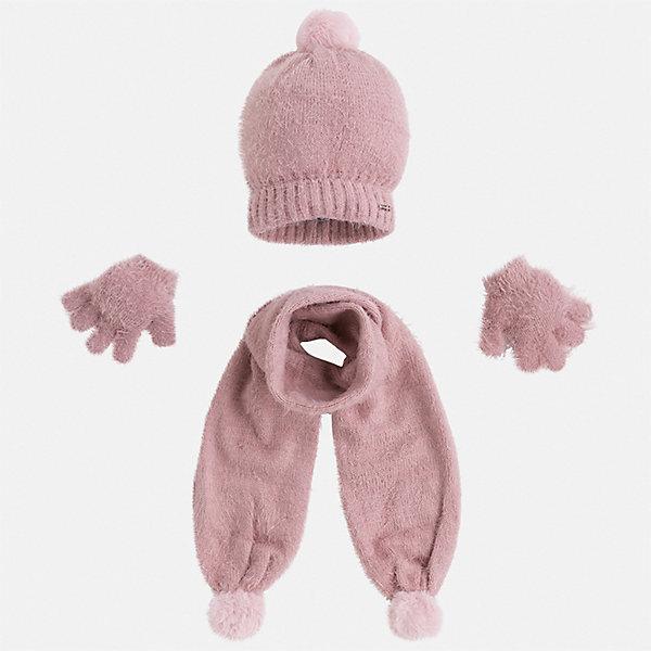 Комплект: шапка, шарф и перчатки для девочки MayoralКомплекты<br>Характеристики товара:<br><br>• цвет: розовый<br>• состав ткани: 81% полиамид, 19% акрил<br>• сезон: демисезон<br>• комплектация: шапка, шарф, перчатки<br>• страна бренда: Испания<br>• страна изготовитель: Индия<br><br>Розовый модный комплект - вязаные шапка, шарф и перчатки для девочки от популярного бренда Mayoral - отличается мягкой пушистой фактурой. Детский демисезонный набор смотрится аккуратно и стильно.<br><br>В одежде от испанской компании Майорал ребенок будет выглядеть модно, а чувствовать себя - комфортно. Целая команда европейских талантливых дизайнеров работает над созданием стильных и оригинальных моделей одежды. <br><br>Комплект: шапка, шарф и перчатки для девочки Mayoral (Майорал) можно купить в нашем интернет-магазине.<br>Ширина мм: 89; Глубина мм: 117; Высота мм: 44; Вес г: 155; Цвет: розовый; Возраст от месяцев: 24; Возраст до месяцев: 36; Пол: Женский; Возраст: Детский; Размер: 50,54,52; SKU: 6925651;