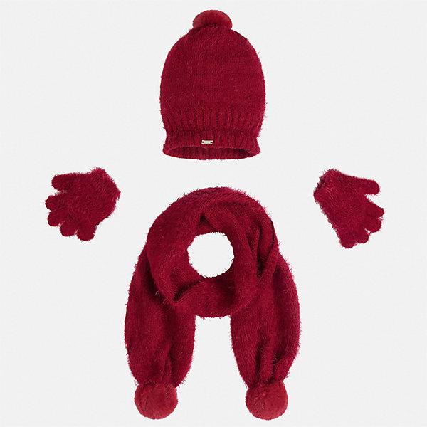 Комплект: шапка, шарф и перчатки для девочки MayoralКомплекты<br>Характеристики товара:<br><br>• цвет: красный<br>• состав ткани: 81% полиамид, 19% акрил<br>• сезон: демисезон<br>• комплектация: шапка, шарф, перчатки<br>• страна бренда: Испания<br>• страна изготовитель: Индия<br><br>Этот стильный пушистый набор поможет обеспечить ребенку тепло и комфорт. Детский комплект для межсезонья от бренда Майорал смотрится модно и оригинально.<br><br>Детская одежда от испанской компании Mayoral отличаются оригинальным и всегда стильным дизайном. Качество продукции неизменно очень высокое.<br><br>Комплект: шапка, шарф и перчатки для девочки Mayoral (Майорал) можно купить в нашем интернет-магазине.<br>Ширина мм: 89; Глубина мм: 117; Высота мм: 44; Вес г: 155; Цвет: красный; Возраст от месяцев: 72; Возраст до месяцев: 84; Пол: Женский; Возраст: Детский; Размер: 54,52,50; SKU: 6925655;