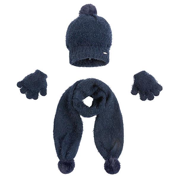 Комплект: шапка, шарф и перчатки для девочки MayoralШарфы, платки<br>Характеристики товара:<br><br>• цвет: черный<br>• состав ткани: 81% полиамид, 19% акрил<br>• сезон: демисезон<br>• комплектация: шапка, шарф, перчатки<br>• страна бренда: Испания<br>• страна изготовитель: Индия<br><br>Практичный детский комплект смотрится аккуратно и стильно. Симпатичные шапка, шарф и перчатки для девочки от популярного бренда Mayoral поможет дополнить наряд и обеспечить комфорт в прохладную погоду. <br><br>Для производства детской одежды популярный бренд Mayoral используют только качественную фурнитуру и материалы. Оригинальные и модные вещи от Майорал неизменно привлекают внимание и нравятся детям.<br><br>Комплект: шапка, шарф и перчатки для девочки Mayoral (Майорал) можно купить в нашем интернет-магазине.<br><br>Ширина мм: 89<br>Глубина мм: 117<br>Высота мм: 44<br>Вес г: 155<br>Цвет: темно-синий<br>Возраст от месяцев: 24<br>Возраст до месяцев: 36<br>Пол: Женский<br>Возраст: Детский<br>Размер: 50,54,52<br>SKU: 6925659