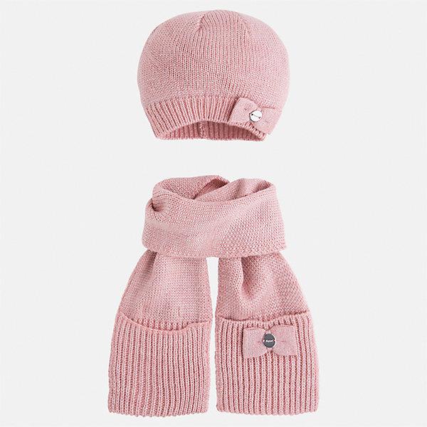 Комплект: шапка и шарф Mayoral для девочкиШарфы, платки<br>Характеристики товара:<br><br>• цвет: розовый<br>• состав ткани: 93% акрил, 5% полиамид, 2% металлизированная нить<br>• сезон: демисезон<br>• комплектация: шапка, шарф<br>• страна бренда: Испания<br>• страна изготовитель: Индия<br><br>Детский демисезонный набор смотрится аккуратно и стильно. Розовый модный комплект - вязаные шапка и шарф для девочки от популярного бренда Mayoral - отличается декором в виде бантов. <br><br>В одежде от испанской компании Майорал ребенок будет выглядеть модно, а чувствовать себя - комфортно. Целая команда европейских талантливых дизайнеров работает над созданием стильных и оригинальных моделей одежды. <br><br>Комплект: шапка и шарф для девочки Mayoral (Майорал) можно купить в нашем интернет-магазине.<br><br>Ширина мм: 89<br>Глубина мм: 117<br>Высота мм: 44<br>Вес г: 155<br>Цвет: розовый<br>Возраст от месяцев: 48<br>Возраст до месяцев: 60<br>Пол: Женский<br>Возраст: Детский<br>Размер: 52,50,54<br>SKU: 6925663