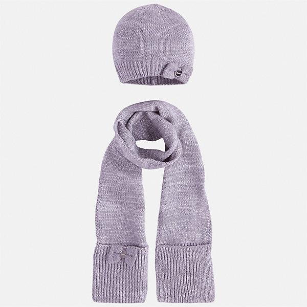 Комплект: шапка и шарф Mayoral для девочкиКомплекты<br>Характеристики товара:<br><br>• цвет: серебристый<br>• состав ткани: 93% акрил, 5% полиамид, 2% металлизированная нить<br>• сезон: демисезон<br>• комплектация: шапка, шарф<br>• страна бренда: Испания<br>• страна изготовитель: Индия<br><br>Этот стильный серебристый набор поможет обеспечить ребенку тепло и комфорт. Детский комплект для межсезонья от бренда Майорал смотрится модно и оригинально.<br><br>Детская одежда от испанской компании Mayoral отличаются оригинальным и всегда стильным дизайном. Качество продукции неизменно очень высокое.<br><br>Комплект: шапка и шарф для девочки Mayoral (Майорал) можно купить в нашем интернет-магазине.<br>Ширина мм: 89; Глубина мм: 117; Высота мм: 44; Вес г: 155; Цвет: серебряный; Возраст от месяцев: 48; Возраст до месяцев: 60; Пол: Женский; Возраст: Детский; Размер: 52,50,54; SKU: 6925667;