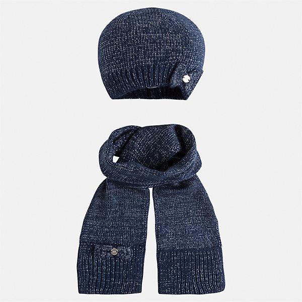 Комплект: шапка и шарф Mayoral для девочкиШарфы, платки<br>Характеристики товара:<br><br>• цвет: синий<br>• состав ткани: 93% акрил, 5% полиамид, 2% металлизированная нить<br>• сезон: демисезон<br>• комплектация: шапка, шарф<br>• страна бренда: Испания<br>• страна изготовитель: Индия<br><br>Синий демисезонный набор для детей смотрится аккуратно и стильно. Розовый модный комплект - вязаные шапка и шарф для девочки от популярного бренда Mayoral - отличается декором в виде бантов. <br><br>В одежде от испанской компании Майорал ребенок будет выглядеть модно, а чувствовать себя - комфортно. Целая команда европейских талантливых дизайнеров работает над созданием стильных и оригинальных моделей одежды. <br><br>Комплект: шапка и шарф для девочки Mayoral (Майорал) можно купить в нашем интернет-магазине.<br>Ширина мм: 89; Глубина мм: 117; Высота мм: 44; Вес г: 155; Цвет: синий; Возраст от месяцев: 48; Возраст до месяцев: 60; Пол: Женский; Возраст: Детский; Размер: 52,50,54; SKU: 6925675;
