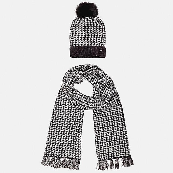 Комплект: шапка и шарф Mayoral для девочкиШарфы, платки<br>Характеристики товара:<br><br>• цвет: черный<br>• состав ткани: 75% акрил, 25% полиамид<br>• сезон: демисезон<br>• комплектация: шапка, шарф<br>• страна бренда: Испания<br>• страна изготовитель: Индия<br><br>Этот стильный черно-белый набор поможет обеспечить ребенку тепло и комфорт. Детский комплект для межсезонья от бренда Майорал смотрится модно и оригинально.<br><br>Детская одежда от испанской компании Mayoral отличаются оригинальным и всегда стильным дизайном. Качество продукции неизменно очень высокое.<br><br>Комплект: шапка и шарф для девочки Mayoral (Майорал) можно купить в нашем интернет-магазине.<br>Ширина мм: 89; Глубина мм: 117; Высота мм: 44; Вес г: 155; Цвет: черный; Возраст от месяцев: 72; Возраст до месяцев: 84; Пол: Женский; Возраст: Детский; Размер: 54,52,56; SKU: 6925700;