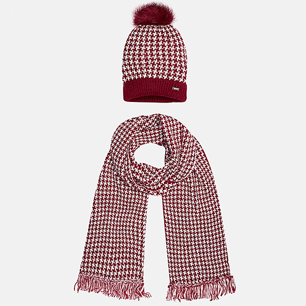 Комплект: шапка и шарф для девочки MayoralГоловные уборы<br>Характеристики товара:<br><br>• цвет: красный<br>• состав ткани: 75% акрил, 25% полиамид<br>• сезон: демисезон<br>• комплектация: шапка, шарф<br>• страна бренда: Испания<br>• страна изготовитель: Индия<br><br>Детский комплект из шарфа и шапки смотрится аккуратно и стильно. Такой набор для девочки от бренда Mayoral поможет обеспечить комфорт в и тепло. <br><br>Для производства детской одежды популярный бренд Mayoral используют только качественную фурнитуру и материалы. Оригинальные и модные вещи от Майорал неизменно привлекают внимание и нравятся детям.<br><br>Комплект: шапка и шарф для девочки Mayoral (Майорал) можно купить в нашем интернет-магазине.<br><br>Ширина мм: 89<br>Глубина мм: 117<br>Высота мм: 44<br>Вес г: 155<br>Цвет: красный<br>Возраст от месяцев: 48<br>Возраст до месяцев: 60<br>Пол: Женский<br>Возраст: Детский<br>Размер: 52,56,54<br>SKU: 6925704