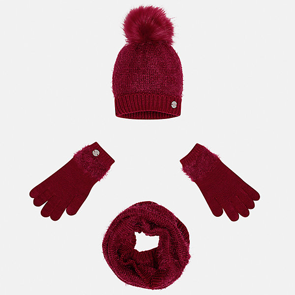 Комплект: шапка, шарф и перчатки Mayoral для девочки