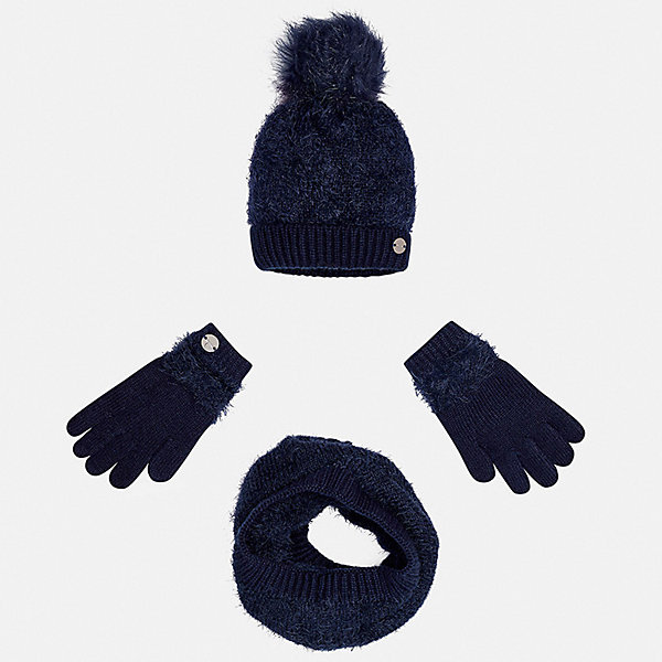 Комплект: шапка, шарф и перчатки для девочки MayoralГоловные уборы<br>Характеристики товара:<br><br>• цвет: синий<br>• состав ткани: 86% полиамид, 14% акрил<br>• сезон: демисезон<br>• комплектация: шапка, шарф, перчатки<br>• страна бренда: Испания<br>• страна изготовитель: Индия<br><br>Синий демисезонный набор для детей смотрится аккуратно и стильно. Теплый комплект - вязаные шапка, шарф и перчатки для девочки от популярного бренда Mayoral - отличается пушистой фактурой. <br><br>В одежде от испанской компании Майорал ребенок будет выглядеть модно, а чувствовать себя - комфортно. Целая команда европейских талантливых дизайнеров работает над созданием стильных и оригинальных моделей одежды. <br><br>Комплект: шапка, шарф и перчатки для девочки Mayoral (Майорал) можно купить в нашем интернет-магазине.<br>Ширина мм: 89; Глубина мм: 117; Высота мм: 44; Вес г: 155; Цвет: синий; Возраст от месяцев: 96; Возраст до месяцев: 120; Пол: Женский; Возраст: Детский; Размер: 56,52,54; SKU: 6925720;