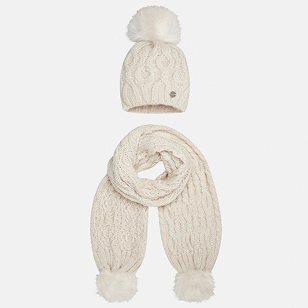 Комплект: шапка и шарф Mayoral для девочкиКомплекты<br>Характеристики товара:<br><br>• цвет: бежевый<br>• состав ткани: 100% акрил<br>• сезон: демисезон<br>• комплектация: шапка, шарф<br>• страна бренда: Испания<br>• страна изготовитель: Индия<br><br>Пушистые помпоны - модный хит нового сезона. Детский комплект из шарфа и шапки смотрится аккуратно и стильно. Такой набор для девочки от бренда Mayoral поможет обеспечить комфорт в и тепло. <br><br>Для производства детской одежды популярный бренд Mayoral используют только качественную фурнитуру и материалы. Оригинальные и модные вещи от Майорал неизменно привлекают внимание и нравятся детям.<br><br>Комплект: шапка и шарф для девочки Mayoral (Майорал) можно купить в нашем интернет-магазине.<br>Ширина мм: 89; Глубина мм: 117; Высота мм: 44; Вес г: 155; Цвет: бежевый; Возраст от месяцев: 48; Возраст до месяцев: 60; Пол: Женский; Возраст: Детский; Размер: 52,56,54; SKU: 6925728;