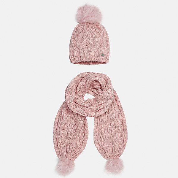 Комплект: шапка и шарф Mayoral для девочкиКомплекты<br>Характеристики товара:<br><br>• цвет: розовый<br>• состав ткани: 100% акрил<br>• сезон: демисезон<br>• комплектация: шапка, шарф<br>• страна бренда: Испания<br>• страна изготовитель: Индия<br><br>Нежный розовый набор для детей смотрится аккуратно и стильно. Теплый комплект - вязаные шапка и шарф для девочки от популярного бренда Mayoral - отличается стильным декором в виде помпонов. <br><br>В одежде от испанской компании Майорал ребенок будет выглядеть модно, а чувствовать себя - комфортно. Целая команда европейских талантливых дизайнеров работает над созданием стильных и оригинальных моделей одежды. <br><br>Комплект: шапка и шарф для девочки Mayoral (Майорал) можно купить в нашем интернет-магазине.<br>Ширина мм: 89; Глубина мм: 117; Высота мм: 44; Вес г: 155; Цвет: розовый; Возраст от месяцев: 48; Возраст до месяцев: 60; Пол: Женский; Возраст: Детский; Размер: 52,56,54; SKU: 6925732;