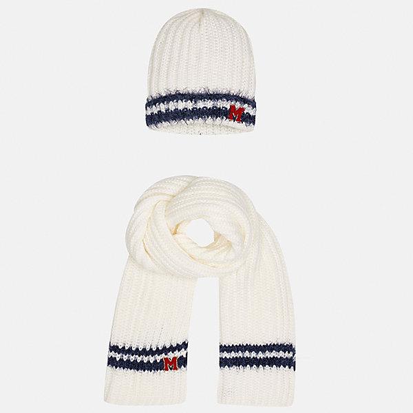 Комплект: шапка и шарф Mayoral для девочкиКомплекты<br>Характеристики товара:<br><br>• цвет: бежевый<br>• состав ткани: 100% акрил<br>• сезон: демисезон<br>• комплектация: шапка, шарф<br>• страна бренда: Испания<br>• страна изготовитель: Индия<br><br>Бежевый набор для детей смотрится аккуратно и стильно. Теплый комплект - шапка и шарф для девочки от популярного бренда Mayoral - отличается стильным декором в виде пушистых вязаных полос. <br><br>В одежде от испанской компании Майорал ребенок будет выглядеть модно, а чувствовать себя - комфортно. Целая команда европейских талантливых дизайнеров работает над созданием стильных и оригинальных моделей одежды. <br><br>Комплект: шапка и шарф для девочки Mayoral (Майорал) можно купить в нашем интернет-магазине.<br>Ширина мм: 89; Глубина мм: 117; Высота мм: 44; Вес г: 155; Цвет: бежевый; Возраст от месяцев: 48; Возраст до месяцев: 60; Пол: Женский; Возраст: Детский; Размер: 52,56,54; SKU: 6925744;