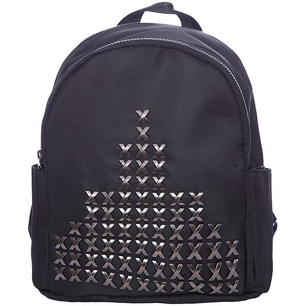Рюкзак  Vitacci для девочкиРюкзаки<br>Характеристики товара:<br><br>• цвет: черный;<br>• материал: текстиль;<br>• особенности: с металлической фурнитурой;<br>• застежка: молния;<br>• количество отделений: 1;<br>• внутренний карман на молнии;<br>• карман на молнии на спинке;<br>• два боковых кармана;<br>• плечевые лямки регулируются по длине;<br>• вес: 200 гр;<br>• размер: 23х20х9 см;<br>• страна бренда: Италия;<br>• страна производства: Китай.<br><br>Молодежный рюкзак черного цвета с металлической фурнитурой. Рюкзак для девочки застегивается на молнию. Внутри одно большое отделение и карман на молнии. Два боковых кармана и один карман на молнии на спинке изделия. Плечевые ремни регулируются.<br><br>Рюкзак Vitacci (Витачи) можно купить в нашем интернет-магазине.<br><br>Ширина мм: 170<br>Глубина мм: 157<br>Высота мм: 67<br>Вес г: 117<br>Цвет: черный<br>Возраст от месяцев: 48<br>Возраст до месяцев: 144<br>Пол: Женский<br>Возраст: Детский<br>Размер: one size<br>SKU: 6926974
