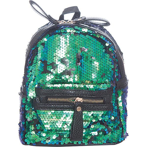 Рюкзак  Vitacci для девочкиАксессуары<br>Характеристики товара:<br><br>• цвет: зеленый;<br>• материал: текстиль;<br>• особенности: с пайетками;<br>• застежка: молния;<br>• количество отделений: 1;<br>• внешний карман на молнии;<br>• внутренний карман на молнии;<br>• два боковых кармана без застежки;<br>• плечевые лямки регулируются;<br>• вес: 200 гр;<br>• размер: 22х11х20 см;<br>• страна бренда: Италия;<br>• страна производства: Китай.<br><br>Детский рюкзак с пайетками. Рюкзак для девочки застегивается на молнию, имеется внутренний карман на молнии, внешний карман на молнии и два боковых кармана без застежки. Плечевые ремни регулируются.<br><br>Рюкзак Vitacci (Витачи) можно купить в нашем интернет-магазине.<br>Ширина мм: 170; Глубина мм: 157; Высота мм: 67; Вес г: 117; Цвет: зеленый; Возраст от месяцев: 48; Возраст до месяцев: 144; Пол: Женский; Возраст: Детский; Размер: one size; SKU: 6926996;