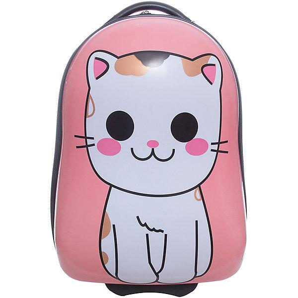 Чемодан  Vitacci для девочкиАксессуары<br>Характеристики товара:<br><br>• цвет: розовый;<br>• материал: пластик;<br>• внутренний материал: текстиль;<br>• объем чемодана: 32 литра;<br>• вес чемодана: 1,8 кг;<br>• размер чемодана: 33х22х40 см;<br>• чемодан застегивается на молнию:<br>• чемодан на двух колесиках;<br>• чемодан с выдвижной телескопической ручкой;<br>• ручка фиксируется в двух положениях;<br>• количество отделений чемодана: 2;<br>• 1 на молнии, 2 с перекрестными ремнями;<br>• страна производства: Китай.<br><br>Этот забавный чемодан отлично подойдет для путешествий с детьми. Удобный чемодан на прочных колесиках с выдвижной ручкой. Чемодан застегиваются на молнию, сделан из прочного пластика. Внутри чемодана два отделения. На чемодане крупный рисунок в виде котенка.<br><br>Чемодан Vitacci (Витачи) можно купить в нашем интернет-магазине.<br>Ширина мм: 170; Глубина мм: 157; Высота мм: 67; Вес г: 117; Цвет: розовый; Возраст от месяцев: 48; Возраст до месяцев: 144; Пол: Женский; Возраст: Детский; Размер: one size; SKU: 6927032;